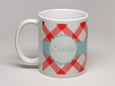 Personalized Coffee Mugs - part of our Designer Series - create your own mug by choosing from fronts, colors, and patterns! Just $13.99 #ThatsMyPan