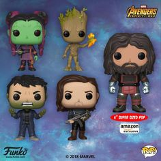 New avengers Infinity War funko pops! I am so excited about the Bucky and Gamora pops. I have always wanted a Bucky funko. I really wanted the civil war collection but he will do good in the time being. Funko Pop Toys, Funko Pop Figures, Pop Vinyl Figures, Bruce Banner, Bucky Barnes, Baby Groot, Mark Ruffalo, Sebastian Stan, Winter Soldier