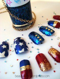 Wonder Woman acrylic nail art made by me =)