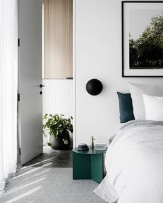 The super versatile Slit Table looking  in green inside this crisp bedroom by @technearchitects.  #hay #haydesign #slittable #sidetable #bedroominterior #greenpalette #residentialdesign #sidetable