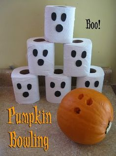 Cute party game ~ Ghost Bowling!  Use felt to cut out ovals for eyes and circles for the nose to make the Ghost Pins.  Use a small pumpkin and turn on its side.  Carve 3 holes for the fingers and use as the bowling ball.  You can also use a small plastic or rubber ball.