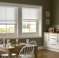 Mariella Snowdrop White kitchen roller blinds.