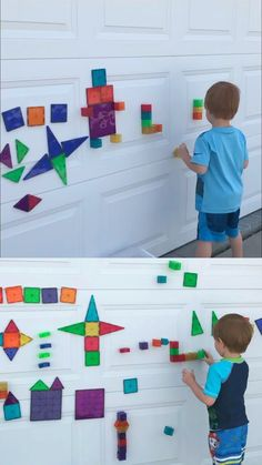 Fun ideas for Magna Tiles! - - Lots of fun ideas for using Magna-Tiles or other magnetic blocks. These simple ideas will help you get the most out of these high-quality shape tiles. Outside Activities For Kids, Preschool Learning Activities, Summer Activities For Kids, Toddler Learning, Indoor Activities, Toddler Activities, Backyard Games For Kids, Virtual Games For Kids, Games To Play With Kids