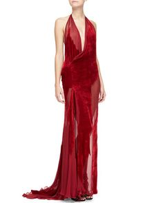 Red Sheer Burnout Velvet & Chiffon Halter Gown, Ruby by Donna Karan at Neiman Marcus $10K Gorgeous