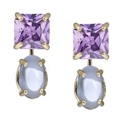 CIRO Cleo earrings  yellow purple/blue cabochon shaped, faceted Cirolit purple/blue, gold plated