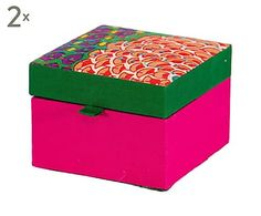 Set de 2 joyeros de madera DM Fabric box I