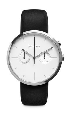 A round 40 mm diameter IPH-coated stainless steel case with a polished finish. On the white textured face are stamped large hour markers that absorb light...