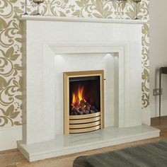 NEW Milena Micro Marble Surround - Shown in manila micro marble with an Elgin & Hall Radion gas fire in Brass finish with Exclusive trim