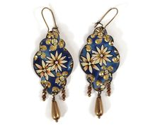Recycled Tin Earrings - Boho Gypsy style Blue Dangle Earrings with Gold Beads by TinMoonJewelryworks on Etsy. $38