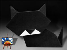 Origami Simple Cat  This is a traditional and very simple origami cat, is easy to fold so is a great introduction to origami for kids Folder and Photo: @Pat Gilman Kids Complexity Easy. You need 2 sheets of classic uncut square origami black and white paper, about 22 cm x 22 cm, one for head and one for the body. Time to fold 3 min. 15 steps, 10 step for the head and 5 steps or the body How to fold: http://origami-blog.origami-kids.com/eng/origami-simple-cat.htm
