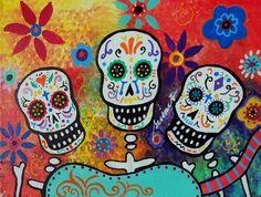 Mexican Dia de los Muertos Mariachi Painting Art Print