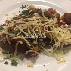 Vaření top receptu bůčková topinková směs Steak, Spaghetti, Toast, Ethnic Recipes, Food, Essen, Steaks, Meals, Yemek