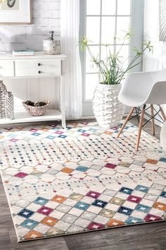 Moroccan Trellis Rug: Bring out the designer in you when you match this muted color rug with designer elements and accent pillows to turn your room perfect. The rug is made out of 100% polypropylene and creates visual interest