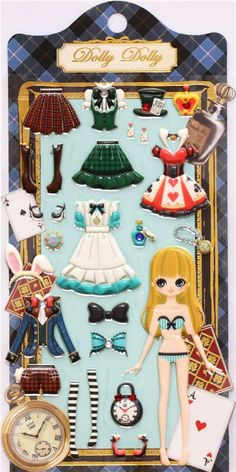 Alice in Wonderland dress up doll puffy sponge stickers - Sticker Sheets - Sticker - Stationery - kawaii shop modeS4u