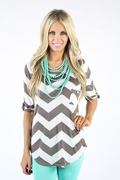 SEABREEZE pearls by Premier Designs! paired with mint skinny jeans, gray & white chevron blouse