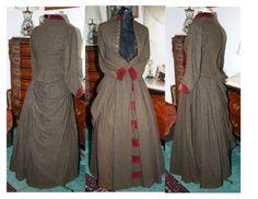 Late 1800s Early 1900's Wool Herringbone w Burgundy by Stevistuff on etsy