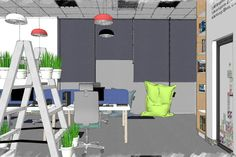 See how created a dynamic work space. homes exterior homes paint colors homes diy homes ideas homes decorations primitive homes Study Interior Design, Commercial Interior Design, Commercial Interiors, Metal Patio Furniture, Repurposed Furniture, Diy Furniture, Space Projects, Primitive Homes, 3d Warehouse