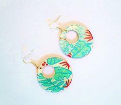 Boucles d'oreille, pendants d'oreille, créoles, greenery, style tropical, mexicain, multicolores , peintes à la main