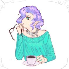 Elf with cup, OC. Manga, women, anime, colour