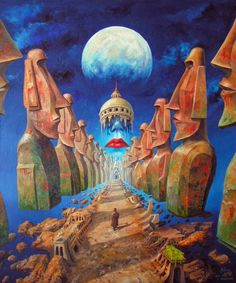 Polish painter Jarosław Jaśnikowski, born 1976 in Legnica, is one of the most prolific painters of Fantastic Realism in Poland. Inspired by science fiction, & the great masters of Surrealism, his impressive images play with the laws of physics, architecture, vehicles, human bodies, & even politics.