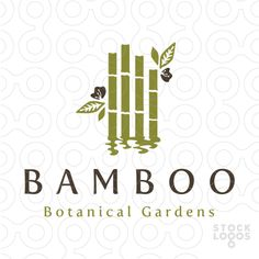 Logo for sale: Rows of simple bamboo create a calm ripple in the water.