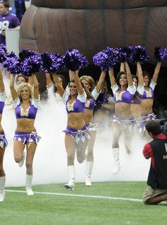 Minnesota Vikings Cheerleaders running on the field week 1 of the 2012 NFL season