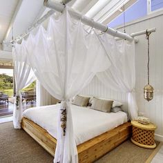 Stunning, beachy boho-luxe bedroom at The Grove Byron Bay. Crushing hard on the hanging bedside lantern!
