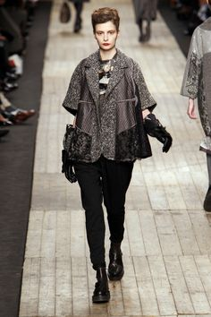 Patch various fabrics and lace easy swing jacket by Antonio Marras at Milan Fall 2010