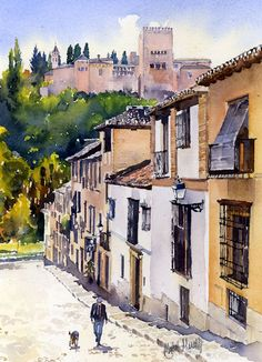 Another of my small watercolours of Granada. Many narrow lanes lead down from the Albaicin to the cobbled street that runs alongside the Rio Darro below the Alhambra. Several ancient, pedestrian br...