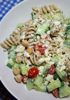 Greek Pasta Salad With Creamy Feta Dressing. (one huge portion is only 291 calories)