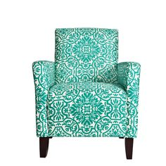 Fabulous angelo HOME Sutton Modern Damask Turquoise Blue Arm Chair Overstock Shopping