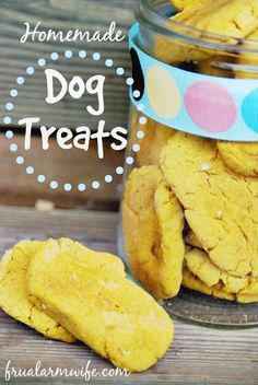 Homemade Dog treats Recipe Don't forget your pets! This recipe is perfect if you have leftover pumpkin from Thanksgiving. Our dog loves these!