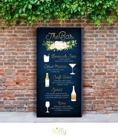 Signature Cocktails Drink Bar Menu Large PRINTED Sign . White Rose Poppy Anemone Eucalyptus Leaf Garland Fern Magnolia Navy & Gold Tropical by BuffyWeddings on Etsy