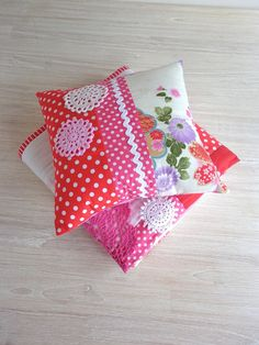 Patchwork Pillow with doily!