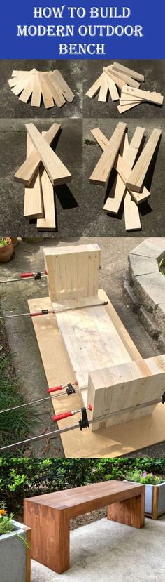 DIY Modern Outdoor Bench #woodworkingprojects