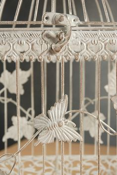 Wedding Birdcages White Metal with Butterflies & Ivy $35 set of 2