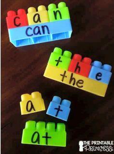 Learn to spell using mega blocks
