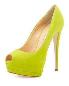 Giuseppe Zanotti   Suede Peep-Toe High-Heel Pump, Lime