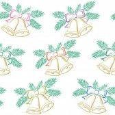 Seamless, Las Campanas De Navidad Decoración De Oro Con Los Arcos Y Las Verdes Ramas De Abeto, Ilustración Pictograma Simbólico Ilustraciones Vectoriales, Clip Art Vectorizado Libre De Derechos. Image 14738463.
