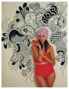 paisley wall and red bathingsuit
