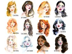Deep Autumn Color Palette, Soft Summer Palette, Deep Winter Colors, Cool Winter, Winter Typ, Beauty Illustration, Watercolor Illustration, Watercolour Hair, Eye Color
