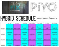 piyo hybrid 21 day fix extreme Workout Calendar Printable, Printable Workouts, Monthly Workouts, 21 Day Fix Extreme, Body Beast Workout Schedule, Running Workouts, At Home Workouts, Piyo Strength, Upper Body Cardio
