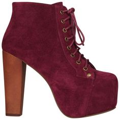 Jeffrey Campbell Women's Lita Shoes - Red Wine Suede ($105) ❤ liked on Polyvore featuring shoes, boots, ankle booties, heels, zapatos, red, red ankle boots, red suede booties, high heel ankle boots and high heel ankle booties