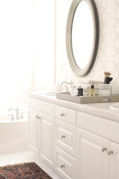 bathroom styling owens and davis Bathroom Inspo, Bathroom Styling, Bathroom Ideas, Beautiful Interior Design, White Tiles, White Bathroom, Beautiful Bathrooms, White Cabinets, House Design