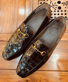 Handmade Alligator Bit Slip-on Loafer Boat Shoes, Men's Shoes, Dress Shoes, Shoes Men, Brogues, Loafers Men, Fashion Shoes, Mens Fashion, Crocodile Skin