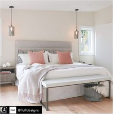 Favorite Serene Space by @fluffdesigns. Incorporate neutral gray and pale pink palette for calm and respite ambiance. Thank you for utilizing our Piero Chevron pattern nightstand. 💕😍💕-NPD Furniture #newpacificdirect #interiordesigner #refreshyourspace #bedroomdecor Furnishings, Bedding Sets, Furniture, Home Furniture, Pink Palette, Cozy Bedroom, Bedroom Decor, Interior Design, Home Decor