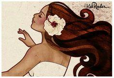 Hawaiian Girl Tattoos, Hawaiian Girls, Hawaiian Art, Polynesian Art, Polynesian Culture, Art Sketches, Art Drawings, Tropical Art, Surf Art