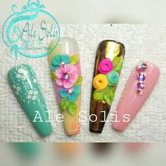 Glam Nails, 3d Nails, Beauty Nails, Flower Nail Designs, Blue Nail Designs, Acrylic Nail Art, 3d Nail Art, Carnival Nails, Nail Studio
