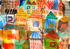 Village by Shohei Hanazaki in watercolor, from Flickr