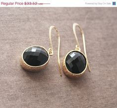ON SALE Black and Gold EarringsGold by lilabelledesign on Etsy
